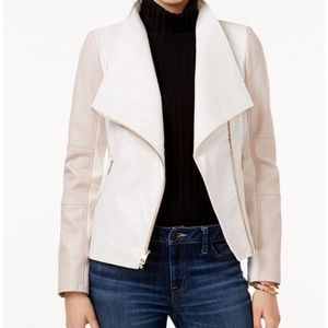NWT PINK GUESS BRAND FAUX LEATHER MOTO JACKET (XL)